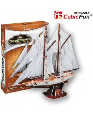 Puzzle 3D Cubic Fun - Two-Masted Schooner, 81 piese (Cubic-Fun-T4007H)