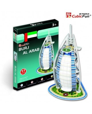 Puzzle 3D Cubic Fun - United Arab Emirates: Burj Al Arab, 17 piese (Cubic-Fun-S3007H)