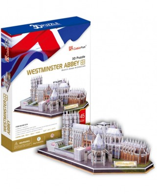 Puzzle 3D Cubic Fun - United Kingdom: Westminster Abbey, 145 piese (Cubic-Fun-MC121H)