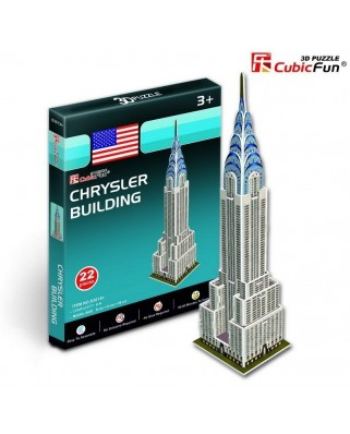 Puzzle 3D Cubic Fun - USA, New-York : Chrysler Building, 22 piese (Cubic-Fun-S3013H)