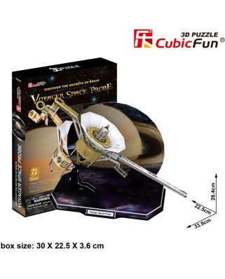 Puzzle 3D Cubic Fun - Voyager Space Probe, 71 piese (Cubic-Fun-P654H)