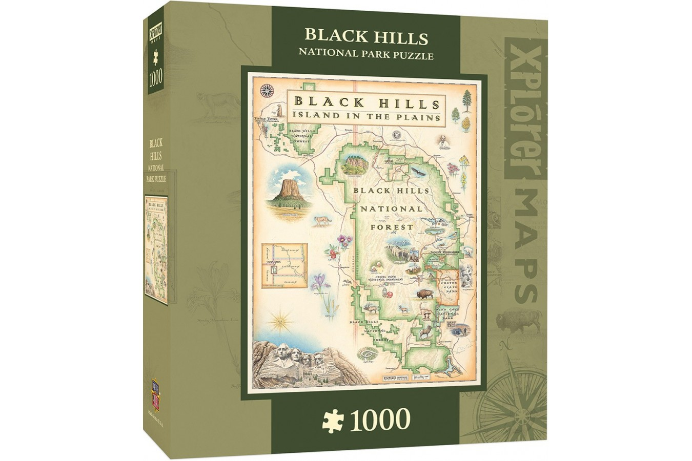 Puzzle Master Pieces - Black Hills Map, 1.000 piese (Master-Pieces-71798)