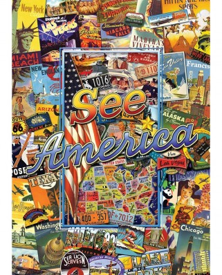 Puzzle Master Pieces - Travel Suitcase - See America, 1.000 piese (Master-Pieces-71661)