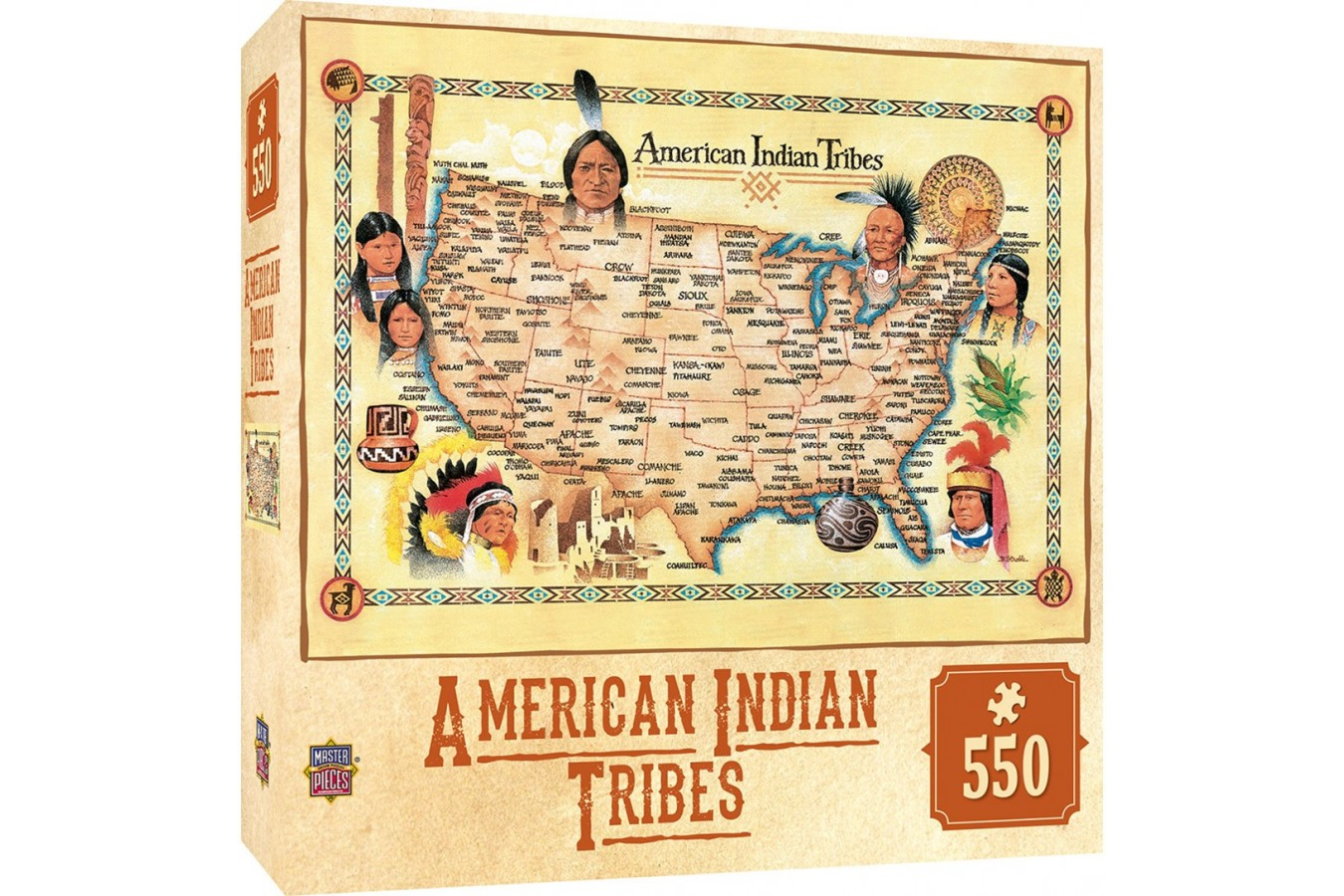 Puzzle Master Pieces - Tribal Spirit - American Indian Tribes, 550 piese (Master-Pieces-71453)