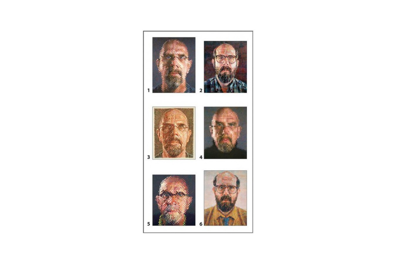 Puzzle cuburi Pomegranate - Chuck Close: 12 cubes for six self-portraits, 12 piese (PB003)