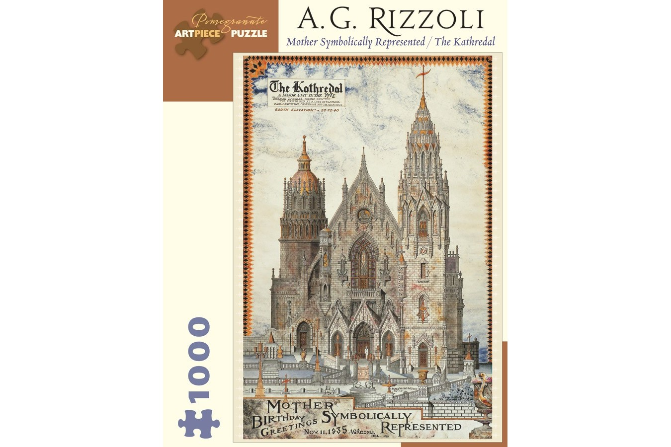 Puzzle Pomegranate - A. G. Rizzoli: Mother Symbolically Represented / The Kathredal, 1935, 1.000 piese (AA873)