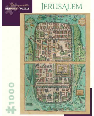 Puzzle Pomegranate - Georg Braun and Franz Hogenberg: Jerusalem, 1588, 1.000 piese (AA886)