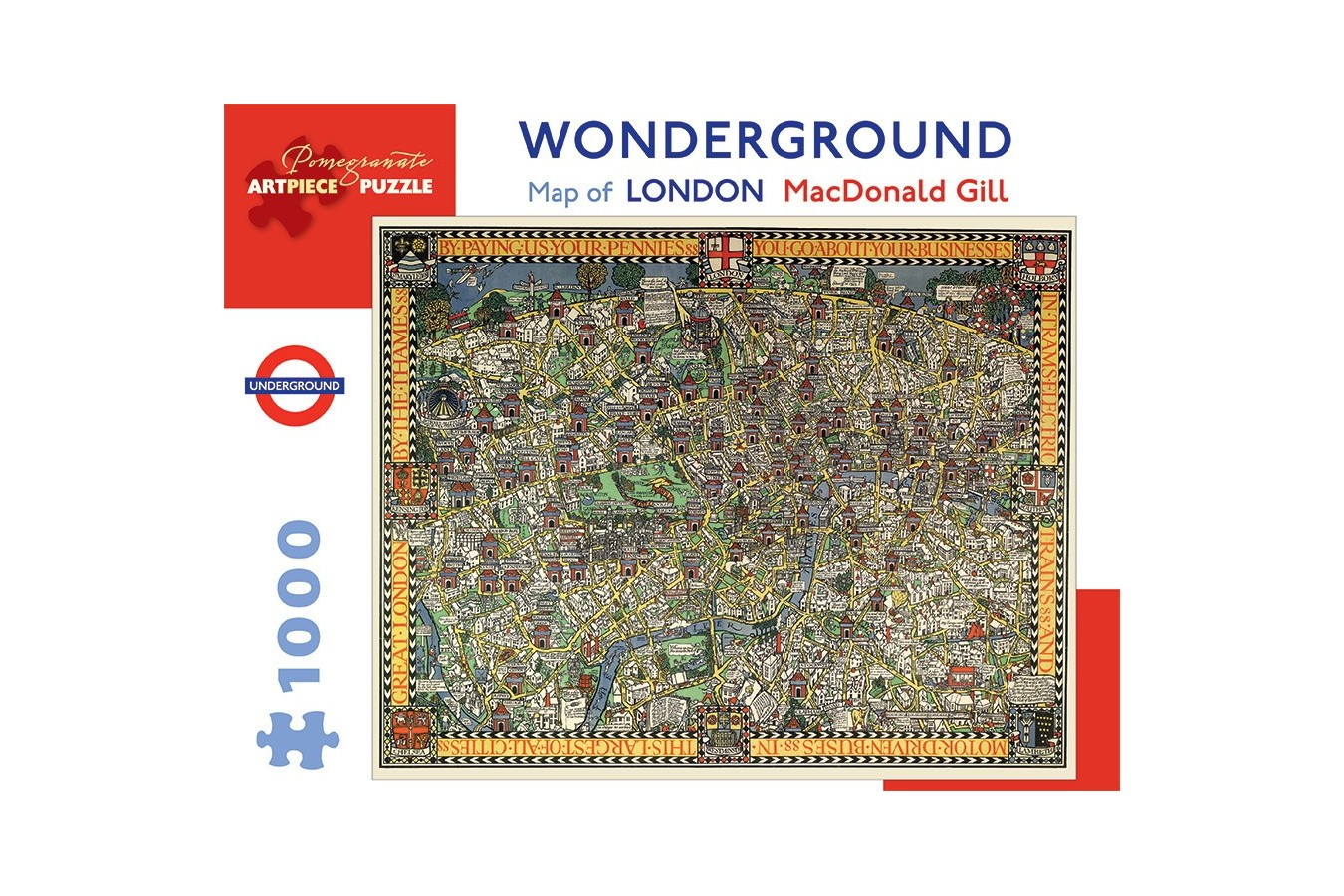 Puzzle Pomegranate - MacDonald Gill: Wonderground Map of London, 1.000 piese (AA920)