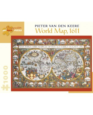 Puzzle Pomegranate - Pieter van den Keere: World Map, 1611, 1.000 piese (AA902)