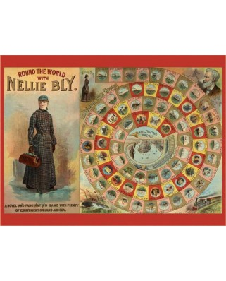Puzzle Pomegranate - World Tour with Nellie Bly - 300 pieces Puzzle+ Board Game (English), 300 piese XXL (AA741)