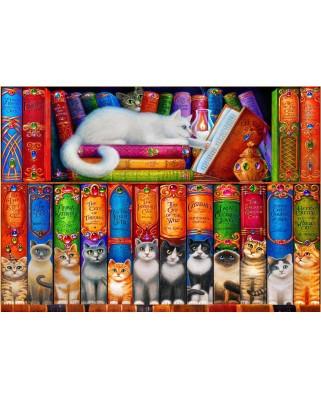 Puzzle Bluebird Puzzle - Cat Bookshelf, 1000 piese (Bluebird-Puzzle-70216)