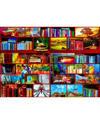 Puzzle Bluebird Puzzle - The Library The Travel Section, 1.000 piese (Bluebird-Puzzle-70212)