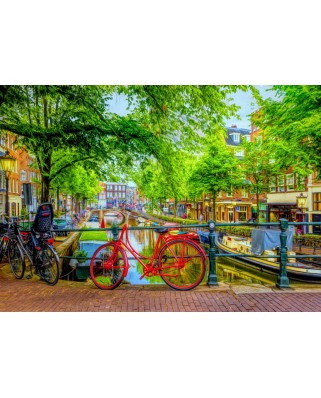 Puzzle Bluebird Puzzle - The Red Bike in Amsterdam, 1.000 piese (Bluebird-Puzzle-70211)