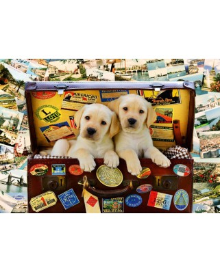 Puzzle Bluebird - Two Travel Puppies, 1.000 piese (Bluebird-Puzzle-70237-P)