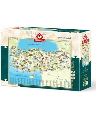 Puzzle Art Puzzle - Karte der Turkei, 260 piese (Art-Puzzle-4288)