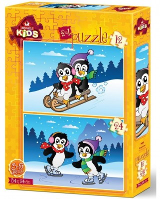 Puzzle Art Puzzle - The Penguins, 12/24 piese (Art-Puzzle-4489)