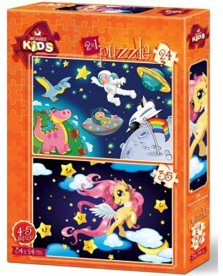 Puzzle Art Puzzle - The Astronaut and The Baby Pegasus, 24/35 piese (Art-Puzzle-4492)