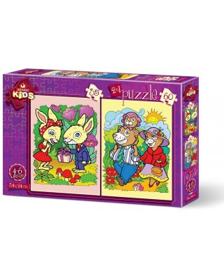 Puzzle Art Puzzle - The Rabbits and The Bear Family, 35/60 piese (Art-Puzzle-4498)