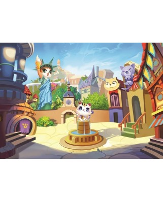 Puzzle Art Puzzle - The Kitty Town, 100 piese (Art-Puzzle-4507)