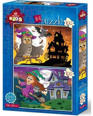 Puzzle Art Puzzle - Halloween, 2x100 piese (Art-Puzzle-4517)