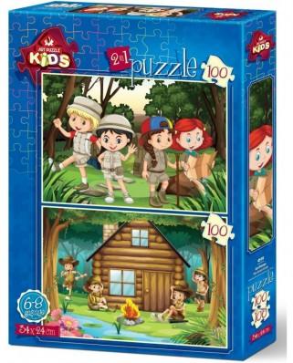 Puzzle Art Puzzle - The Scout Camp, 2x100 piese (Art-Puzzle-4519)