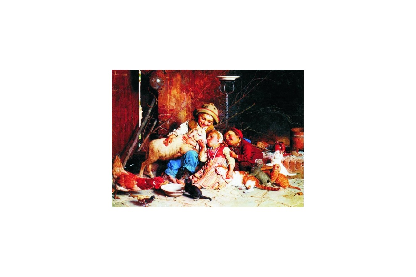 Puzzle Gold Puzzle - Gaetano Chierici: Farmyard Rascals, 1.000 piese (Gold-Puzzle-60270)