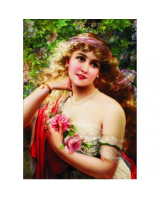 Puzzle Gold Puzzle - Emile Vernon: Young Lady with Rose, 1.000 piese (Gold-Puzzle-60515)
