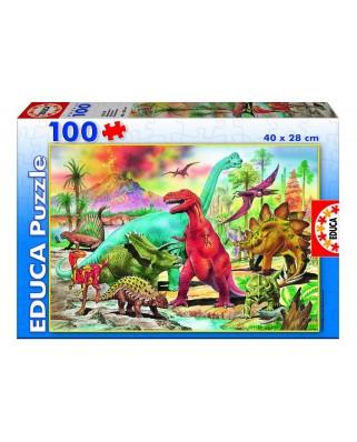 Puzzle Educa - Dinosaurs, 100 piese (13179)