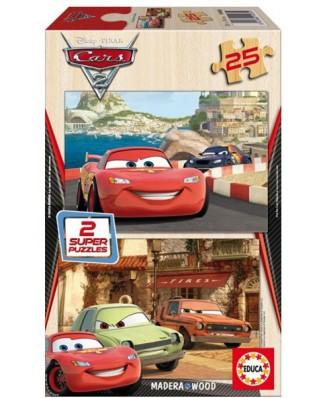 Puzzle din lemn Educa - Disney Cars 2 - Flash McQueen, Grem and Acer, 2x25 piese (14935)