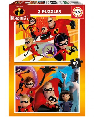 Puzzle Educa - Incredibles 2, 2x48 piese (17634)
