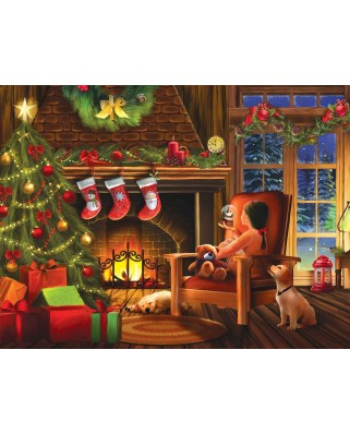 Puzzle din lemn SunsOut - Tom Wood: Dreaming of Christmas, 1.000 piese (Sunsout-28816)