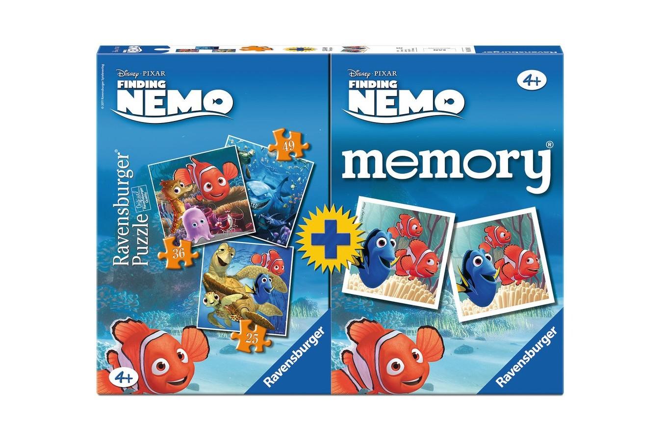 PUZZLE + JOC MEMORY NEMO 3 BUC IN CUTIE 25/36/49 PIESE