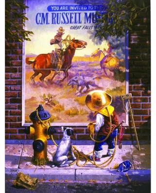 Puzzle SunsOut - Don Crook: Sidewalk Cowboy, 1.000 piese (Sunsout-36030)