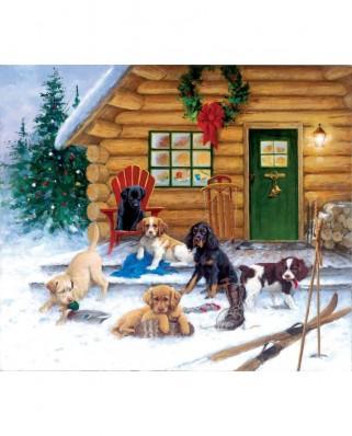 Puzzle SunsOut - Jim Killen: Christmas at the Cabin, 550 piese (Sunsout-73410)