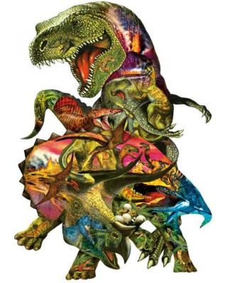 Puzzle contur SunsOut - Dennis Rogers: T Rex Attack, 1.000 piese XXL (Sunsout-90426)