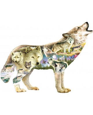 Puzzle contur SunsOut - Greg Giordano: Meadow Wolf, 750 piese XXL (Sunsout-96038)