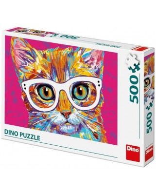 Puzzle Dino - Cat with Glasses, 500 piese (50236)