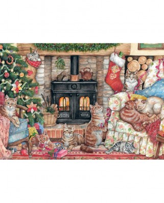 Puzzle Falcon - Christmas Cats, 500 piese (Jumbo-11239)