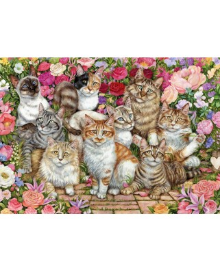 Puzzle Falcon - Floral Cats, 1000 piese (Jumbo-11246)
