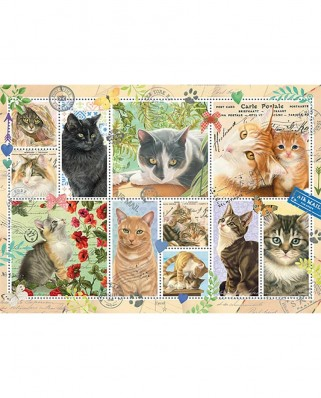 Puzzle Jumbo - Cat Stamps, 1.000 piese (18813)