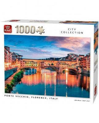 Puzzle King - Ponte Vecchio Florence Italy, 1.000 piese (55849)