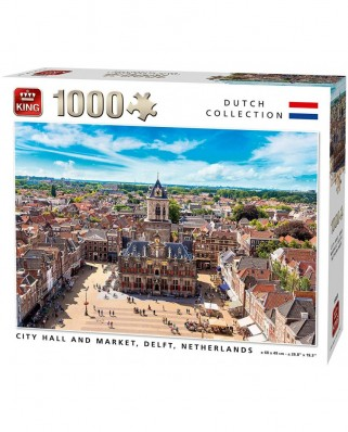 Puzzle King - City Hall and Market, Delft, Netherlands, 1.000 piese (55869)