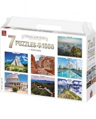 Puzzle King - 7 Wonders of The World, 7x1.000 piese (55877)