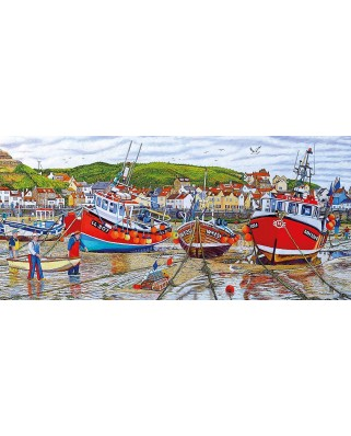 Puzzle panoramic Gibsons - Roger Neil Turner: Seagulls at Staithes, 636 piese (G4045)