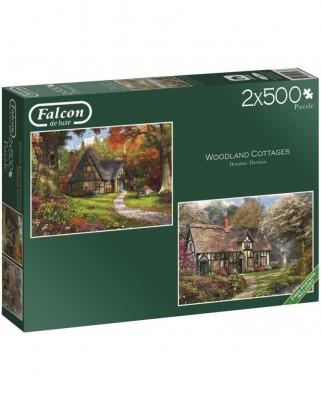 Puzzle din lemn Falcon - Dominic Davison: Woodland Cottages, 2x500 piese (Jumbo-11167)
