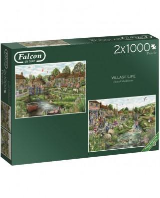 Puzzle Falcon - Village Life, 2x1.000 piese (Jumbo-11216)