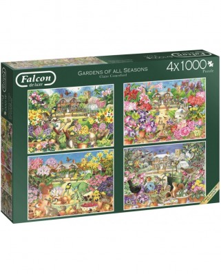 Puzzle Falcon - Gardens of All Seasons, 4x1.000 piese (Jumbo-11235)