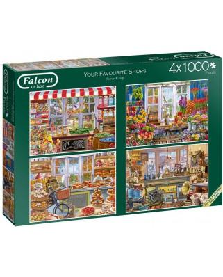 Puzzle Falcon - Steve Crisp: Favourite Shops, 4x1000 piese (Jumbo-11249)