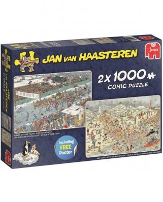Puzzle Jumbo - Jan Van Haasteren: Eleven City Icetour & New Year's Dip, 2x1.000 piese (19081)