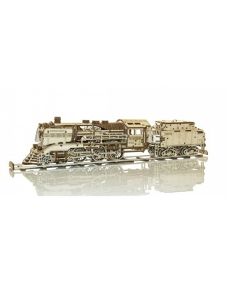 Puzzle 3D din lemn Wooden.City - Express + Tender with rails, 558 piese (Wooden-City-WR323-8473)